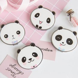 Cute Cat Doppio specchio laterale Pu Leather Bear Pocket Mirror Girls Mini Make Up Beauty
