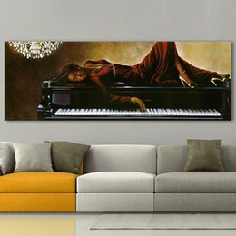 figures Australia - Wall Canvas Art Pictures For Living Room Black Pearl Lying On Piano Home Decor Figure Painting Frameless