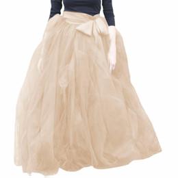Red White Blue Tutus UK - Woman Tulle Skirt 2017 New Fashion Long Black Tutu Skirt Ball Gown With Sashes For Woman Tutu Saias High Quality Tulle