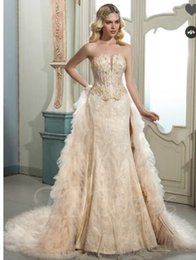Strapless Satin Silk Wedding Dress NZ - Strapless Lace Beading Tiered Court Train Wedding Dress