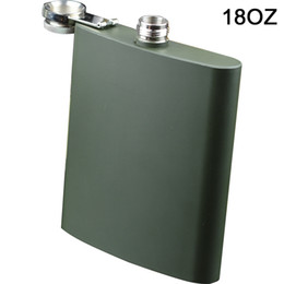 liquor caps NZ - BIG flask 18oz 500ML Stainless Steel Liquor Hip Flask with Screw Down Cap Black color or Sliver color available