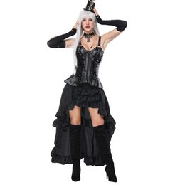 63ddbfc24 Retro Gothic Steampunk Leather Rivets Corset and Ruffles Long Irregular  Skirt Set Black Slimming Sling Goth Bustier With Elastic Sexy Skirt