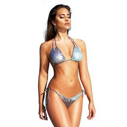 8354f68daf8 Womens Sexy Sling Bikini Colored Sequined Swimsuit Neck Strap Swimsuit