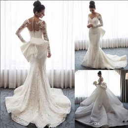 Discount pink tail dresses - Latest Sexy Mermaid Wedding Dresses Detachable Skirt Luxury Floral Arabic Dubai Tail Long Sleeve Bridal Gowns Subtle Plu