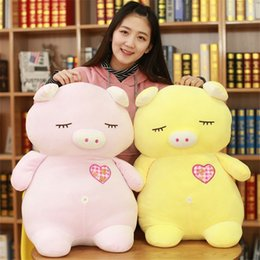 Super Soft Stuffed Animals Canada - Plush Toys Super Soft Down Cotton Pig Stuffed Animal Doll Pink Yellow 2 Styles Napping Cushions Kid Toy Pillow Girlfriend Gifts
