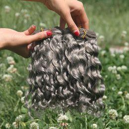 $enCountryForm.capitalKeyWord NZ - Raw Indian Human Hair Bundles Deals Sliver Grey Hair Weaves Virgin Deep Wave Curly Hair Gray Bundles 3Pcs Lot