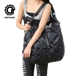 Gothic handbaGs online shopping - Steampunk Big Handbag Vintage Gothic Exclusive Rock Bags Leather Shoulder Bag New Fashion Halloween Handbags