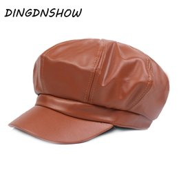 red berets UK - [DINGDNSHOW] 2018 Brand Berets Hat Adult Leather Warm Winter Cap Women Visors Cap Elegant Flat Hat
