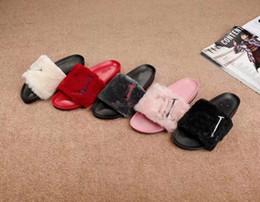 $enCountryForm.capitalKeyWord NZ - Faux Fur Slippers Women Girls Sandals Fashion Scuffs Black Pink Red Grey Blue Slides High Quality