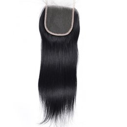 $enCountryForm.capitalKeyWord Australia - Top Grade Human Hair Lace Closure 4x4 straight Brazilian Peruvian Malaysian Virgin Closure With Baby Hair 100% Jet Black 1# Color