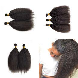 Discount straight human hair for braids - Kinky Straight Hair Bulk Brazilian Human Hair 3pcs Braiding Hair Bulk for Black Women 8-28inch G-EASY