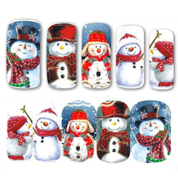 Discount nails art for christmas - NEW 2017 1pcs Christmas Theme Xmas Santa Snowman Designs for Nail Art DIY Craft Wraps Water Transfer Sticker Nail Decal