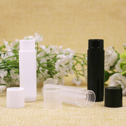 sample lipsticks Canada - 5ml DIY Empty Lipstick Bottle Lip Gloss Tube Lip Balm Tube Container With Cap Clear Black White Cosmetic Sample Container