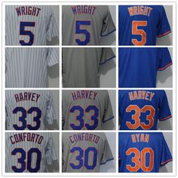 $enCountryForm.capitalKeyWord Australia - Wholesale Men's NY 30 Conforto 33 Harvey 5 Wright Blank Jersey White Strips Grey Blue Cool Base Baseball Jerseys Cheap