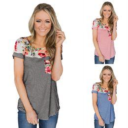 $enCountryForm.capitalKeyWord NZ - S-2XL women sexy floral flower striped print t shirt tops lady casual leisure t-shirt brand summer work office t-shirt