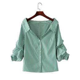 20af12a52cc elegant sexy white blouse 2019 - 2018 Elegant striped blouse shirt Women  long sleeve sexy cool