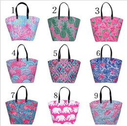 Large canvas fLoraL tote bags online shopping - 9 color women Beach Bag Storage Canvas Shoulder Bag Travel Handbags Flower Printing Ladies Tote Large Capacity Shopping Bags KKA4833