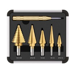 $enCountryForm.capitalKeyWord UK - 6pcs HSS Titanium Coated Step Drill With Center Punch Drill Set Hole Cutter Drilling Tool