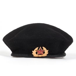 Army Wool Hat NZ - new High Quality Wool% Russian Army Berets for Men Women national emblem beret Hat Adult adjustable Hat Caps Bone Garros