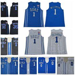 61a27a0b2 Duke Blue Devils 1 Zion Williamson Jersey Kyrie Irving College 35 Marvin  Bagley III Ingram 0 Jayson Tatum Basketball Black Blue White Men