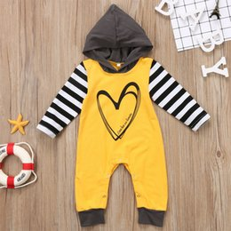 $enCountryForm.capitalKeyWord Canada - Baby boy girl toddler hooded jumsuit clothes romper striped yellow kids clothing long sleeve baby boys nightwear outfits sport clothes 0-24M