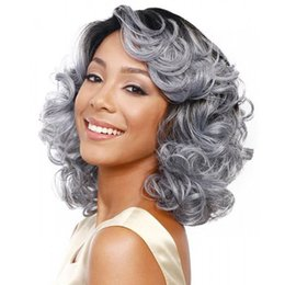 Wholesale Z F Heat Resistant Silver White Synthetic Curly Wigs Ombre Hair Weave Fashion Look Wigs For Black White Women