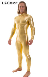 Discount unitard full body - LZCMsoft Mens Shiny Metallic Cosplay Unitard Full Body Zentai Suit Basic Stage Performance Costumes Front Zip Bodysuits