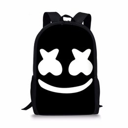 Unisex Backpack School Bag UK - 16-inch Bag School Marshmello rugzak School Bags Boys Girls Backpacks Supplies Schoolbag Satchel Kids Bagpack Mask DJ