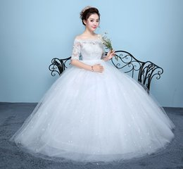 ball pregnant Australia - White Vestidos De Noiva 2017 Wedding Dresses New Arrival Lace Boat Neck Lace Up Ball Gown Princess Pregnant