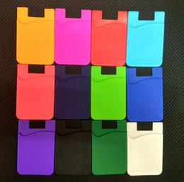 Venta al por mayor de Tarjeta de crédito autoadhesiva de 12 colores nuevo Conjunto de tarjetas monedero ultra delgado Soporte de tarjeta Silicio colorido y suave Para teléfonos inteligentes Paquete de bolsas OPP de 85x56x3 mm