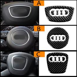 Venta al por mayor de Para Audi A1 A3 A5 A4 A6 A7 A8 S3 S4 S5 S6 S7 Q3 Q5 Q7 TT Fibra de carbono Anillo del volante Emblema Pegatinas en 3D Estilismo del automóvil Accesorios automáticos