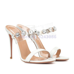 $enCountryForm.capitalKeyWord Canada - Bling Bling Crystal Patent Leather transparent PVC Thin High Shoes Open Toe Silver Pink Black White Concise Fashion Sandals