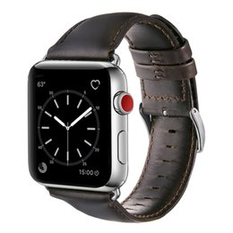 Leather Bracelets Watch For Men NZ - iBaby888 For 42mm 38mm Apple Watch 3 2 1 Genuine Leather Band Classic Buckle Watch Strap Belt Bracelet Crazy Horse Pattern Business Man