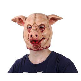 Pig Face Masks Australia - Horror Pig Overhead Animal Mask Latex Pig Mask Halloween Costume Scary Saw Full Head Horror Evil Animal Prop