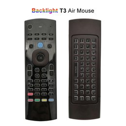 Wholesale Backlight Dual Side Air Mouse G Wireless Mini Keyboards Universal IR Remote Control Upgraded T3 Controller for Android TV Box Mini PC