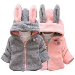 Cartoon Rabbit Hoodies Australia - New Rabbit Ear Hoodie Coat Zip Long Sleeve Outwear Snowsuit Thick Coats Kids Baby Girls Winter Warm Cartoon Hooded Jacket