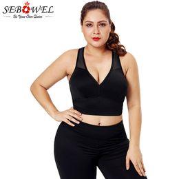 3e3807ab54 SEBOWEL Plus Size Sports Bra Women Elastic High Support Push Up Crop Top  Fitness Yoga Bra Tops Comfortable Soft Seamless Padded