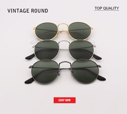 eb91dfb81 2018 Marcas vintage Gafas de sol Mujeres Hombres Moda círculo UV400 Gafas  de sol Montura de gafas Negro Azul Sunglass G15 UV400 redondo 50mm gafas