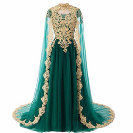 dress sequin cape blue Canada - JaneVini Saudi Arabia Dark Green Prom Evening Dress With Cape Gold Lace Arabic Sequin Burgundy Long Formal Gowns High Neck Ball Party Wear