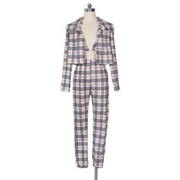 $enCountryForm.capitalKeyWord UK - Classic Plaid Print 3 Piece Set Rompers Fashion Blazer Overall Women Halter Crop Top + Full Sleeve Jacket Coat +Long Jumpsuit