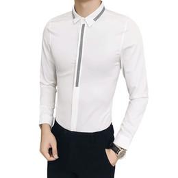 New desigNer tuxedo online shopping - 2018 New White Shirt Men Brand Designer Slim Fit Casual Dress Shirts Men Long Sleeve Plus Size Night Club Prom Tuxedo XL S Sale