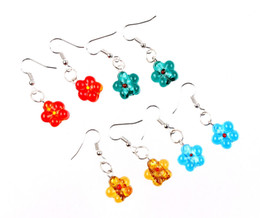Earrings Glasses Australia - QianBei Wholesale Lots 12pairs Hand-made Women's Romatic Silver Plated Elegant Classic Dangle Flower Murano Glass Earrings HOT
