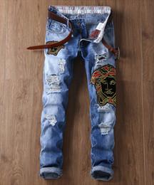 $enCountryForm.capitalKeyWord NZ - Mens Portrait Embroidery Design Ripped Jeans Slim High Street Biker Jeans Man Long Trousers Denim Pencil Pants Hip Hop Distressed Jeans