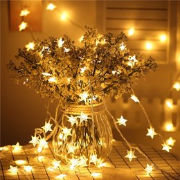 Solid Battery Australia - 6M 40LED New Year Fairy Garland Led Star String Lights For Christmas Tree Natal Wedding Home Indoor Decorations Battery Powered Y18102609