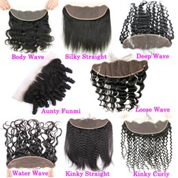 cheap frontal hair piece 2019 - Kinky Straight Raw Indian Human Hair Lace Frontal Closure Cheap Coarse Yaki Full Frontals Closure Pieces Ear To Ear 13x4