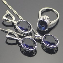Silver Costume Jewelry Rings Australia - ashion Jewelry Sets Silver 925 Costume Jewelry Sets Wedding Decorations For Women Earrings Necklace Rings Set With Blue Stones Free Gift...