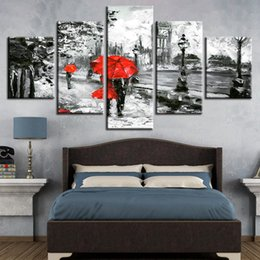 lovers rain painting Australia - Canvas Painting Wall Art Prints 5 Pieces Red Umbrella Lover Poster London Street Rain View Pictures Living Room Retro Home Decor