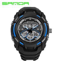 $enCountryForm.capitalKeyWord Australia - montre 100% Original SANDA Sport Dual Time LED Digital Analog 3ATM Wrist Watch Wristwatches for Men Male Boy WATCH 2018