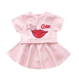 $enCountryForm.capitalKeyWord Canada - summer baby girls striped tops+skirt 2pcs sets children embroidery t shirt clothing child batwing sleeve clothes set new fashion