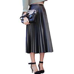 2017 Nueva Primavera Otoño Faldas de Las Mujeres de Cintura Alta Vintage  Faldas de Cuero de Imitación Negro Femenino Delgado Partido Midi PU Falda  Plisada ... 3083090c8bdf
